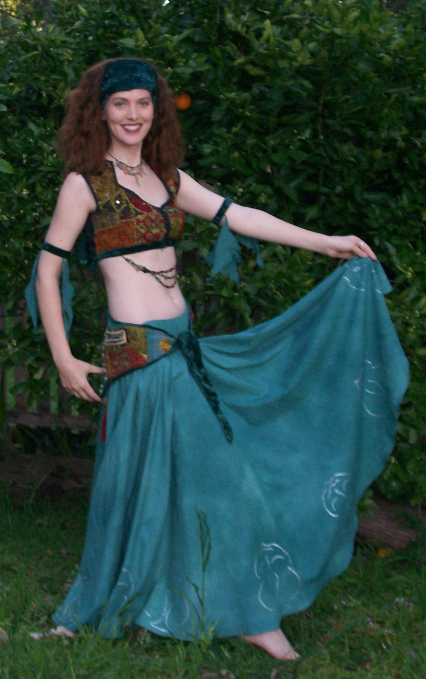 Front view of Trash to Treasure Belly Dance Costume.