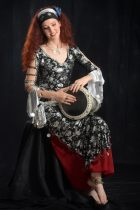 Bellydancer playing tabla
