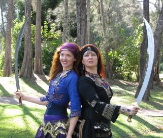 Jade and Ashwara Belly dance with swords
