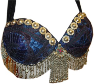 metal fringe bra Tribal belly dance bra blue