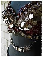 coin costume  special coin bra metal bra  bra Tribal belly dance bra brown