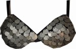 special coin bra ultimate metal bra  bra Tribal belly dance bra black and silver
