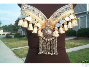 Tribal belly dance bra beige tassels