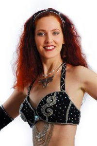 Jade Belly Dance red head in black