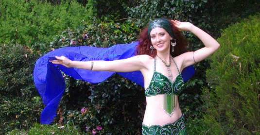 Jade Belly Dance with blue silk veil