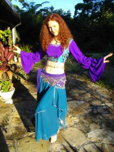 Teal and purple beginners belly dance costume