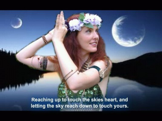 Red headed belly dancer moonlight