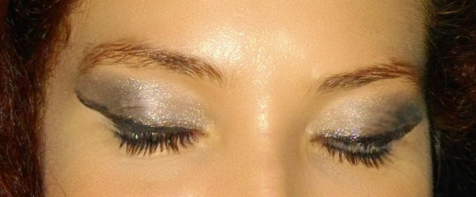 silver eyeshadow close up