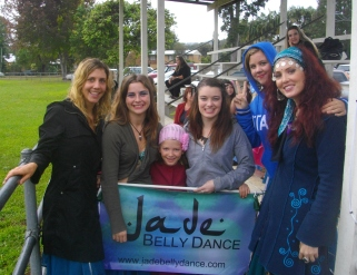 It was a cold day to dance in this picture but we threw on coats over our costumes and had a great time.