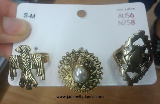 Gold toned, large rings - bargain.