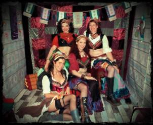 4 dancers at steampunked gypsy night
