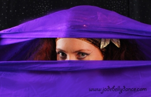 Purple veil eye close up